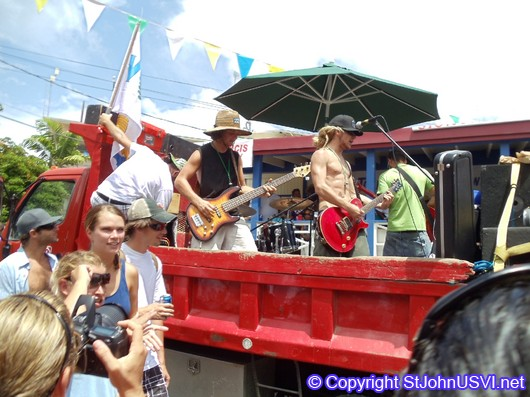 Band Performing in a Truck