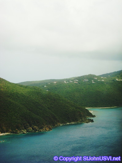 View of St Thomas from the airplane