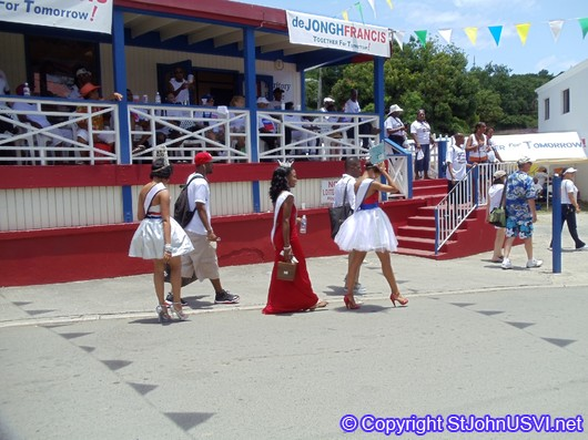 Miss Virgin Island and friends walking into town