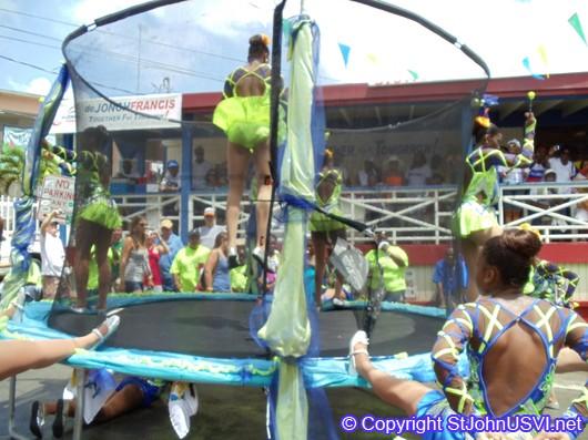 Performing around trampoline