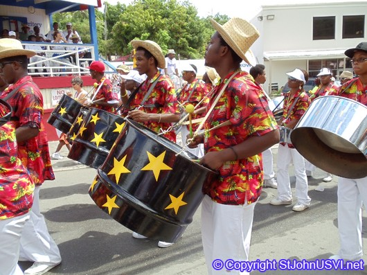 Playing steel drums