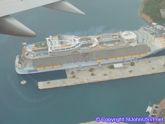 Aerial view of Cruise Ship in St Thomas, USVI