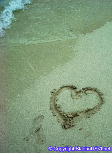 Heart in sand at Hawksnest Bay