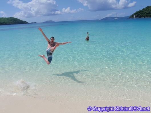 Hawksnest Bay; leap of faith