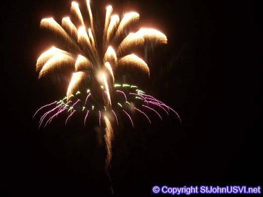 Purple, Green, and Gold Firework