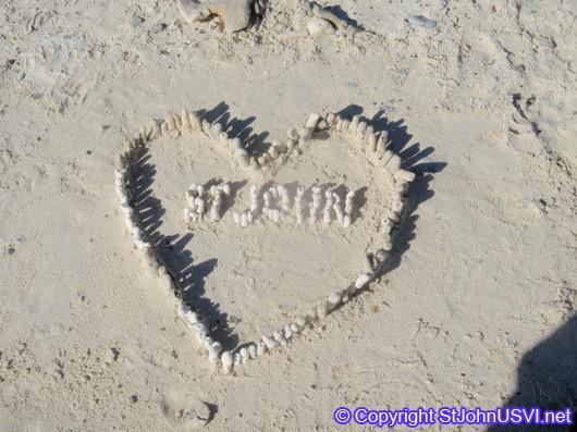 Love St John, written in coral @ Salt Pond Bay